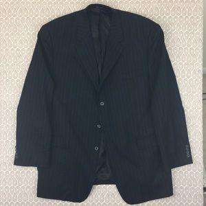 Van Heusen Men's Black Striped Blazer Size 48L Y38